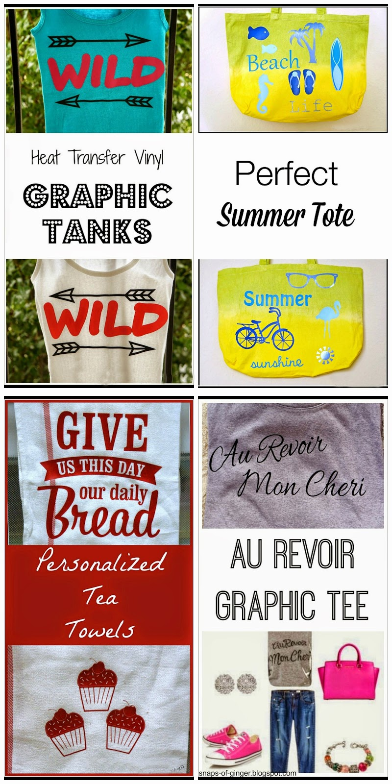 Snaps of Ginger: 4 Easy Heat Transfer Vinyl Projects