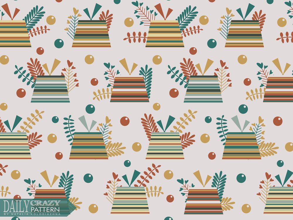 "Bright pattern with gifts for ""Daily Crazy Pattern"" project"