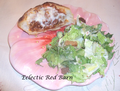 Eclectic Red Barn: Bolognaise Pizza Bread with side salad