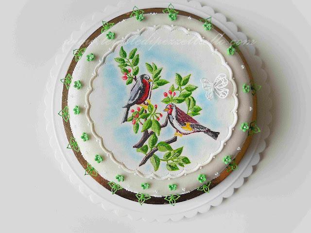 (PDZ-SAP) Torta colorata con uccellini