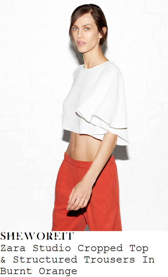 be27045da2cc2 Brooke Vincent s Zara Studio White Round Neck Crop Top With Floaty Angel  Half Sleeves   Burnt Orange Red Tailored Cropped Trousers With Double  Pockets ...