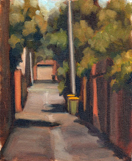 Oil painting of two green and yellow bins in a laneway bordered by brick walls and vegetation.