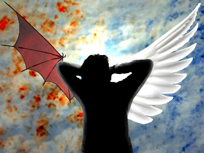 arte contemporaneo visual por el escritor artista y modelo Sir Helder Amos angel y demonio