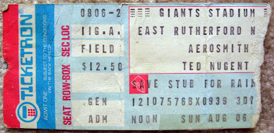 Aerosmith, Ted Nugent ticket stub August 6, 1978 at Giants Stadium