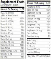 vitamin information, vitamins, label