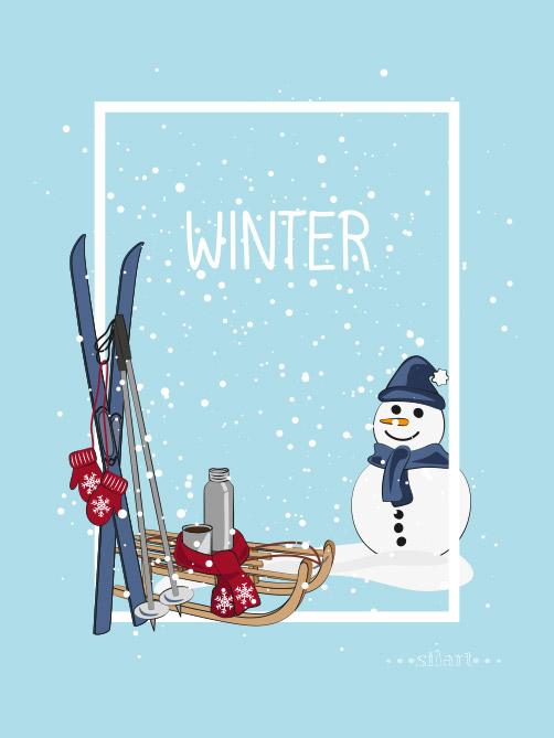lovely winter, illustration, vektorgrafik