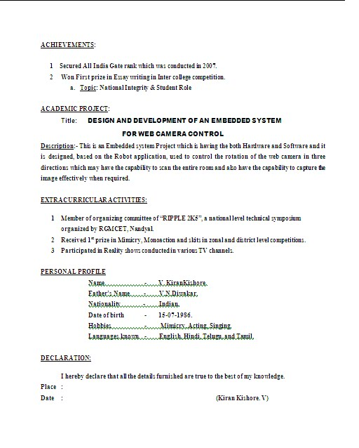 Resume Samples For Civil Engineering Freshers : 100