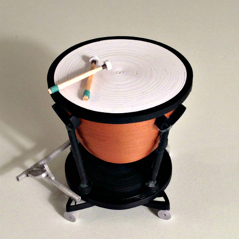 Quilled miniature kettle drum