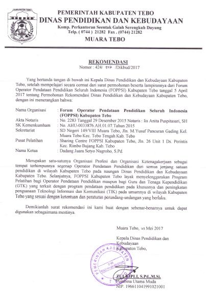 Surat Rekomendasi Dinas Pendidikan Dan Kebudayaan Kabupaten
