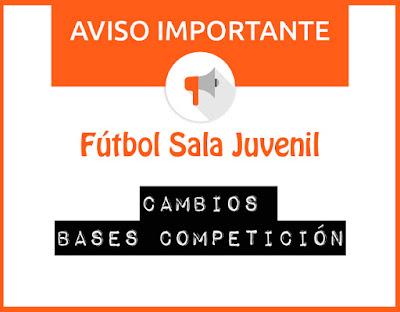FÚTBOL SALA JUVENIL: Nuevas bases de la competición