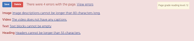 Screenshot of the new error checker