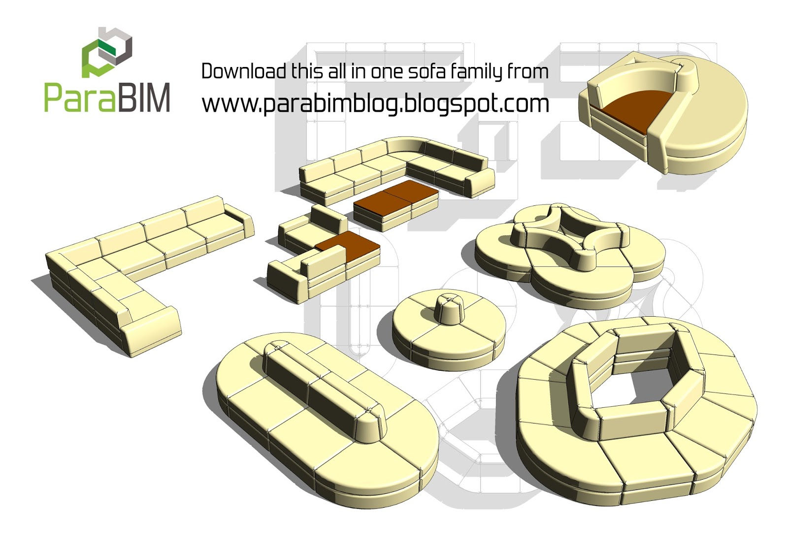 Revit Family Multi Purpose Sofa And Coffee Table With Endless Combinations