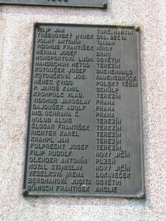 Мемориал в Пршиборе, правая плита