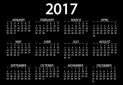 Happy New Year 2017 Calendar Free Download