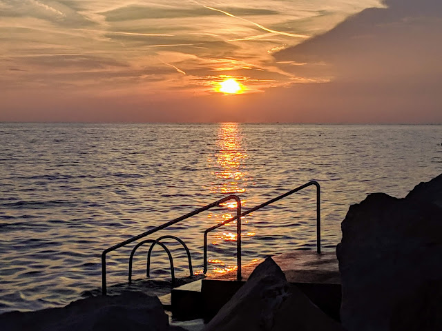 Sunset over a Piran Slovenia beach