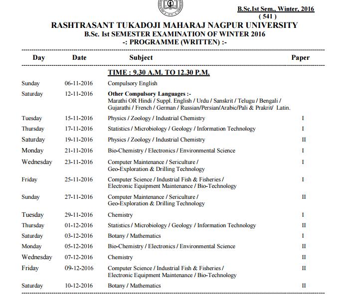 September 2016 for Rtu 4th sem time table