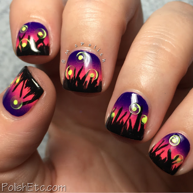 Fireflies at Sunset Nails by McPolish for the #31DC2016Weekly