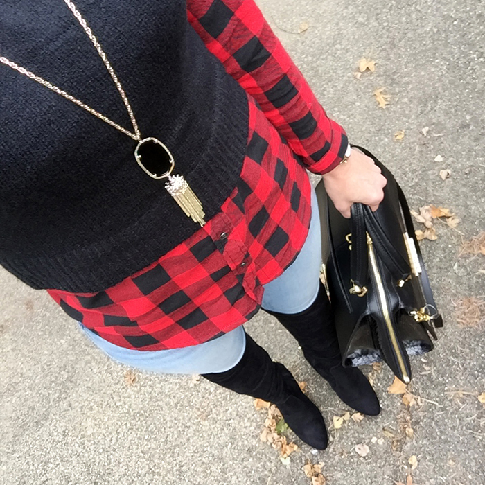 buffalo plaid, over the knee boots, red plaid, zac posen, skinny jeans, fall style, over 40 fashion
