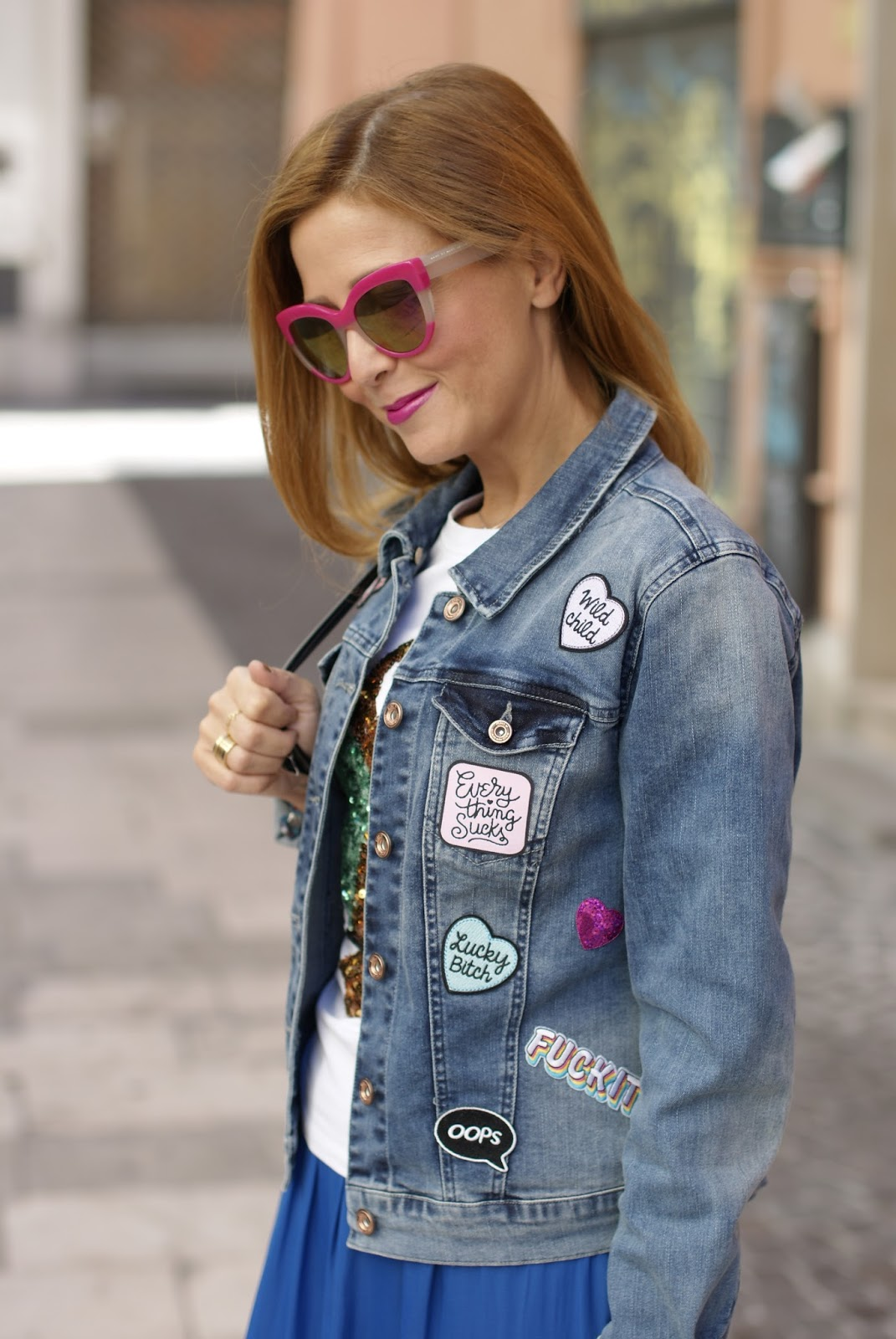 Denim jacket with patches on Fashion and Cookies fashion blog, fashion blogger style
