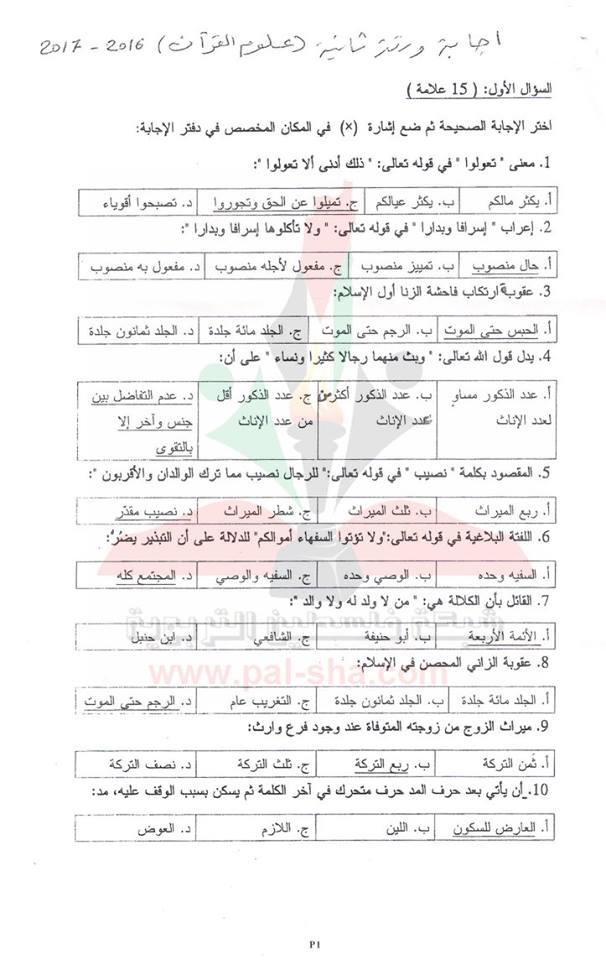 إجابة امتحان القرآن الكريم وعلومه ورقة ثانية شرعي الوزاري توجيهي 2017