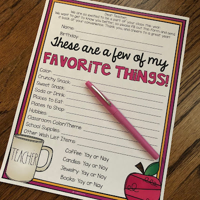 These are a few of my favorite things printable questionnaire