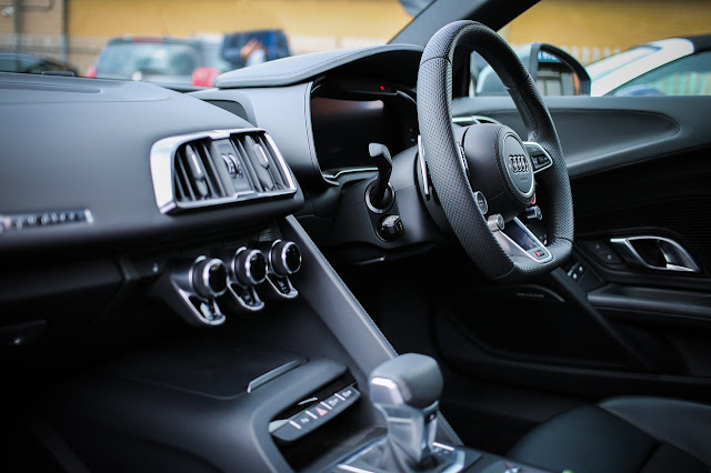 Behind the wheel of an Audi