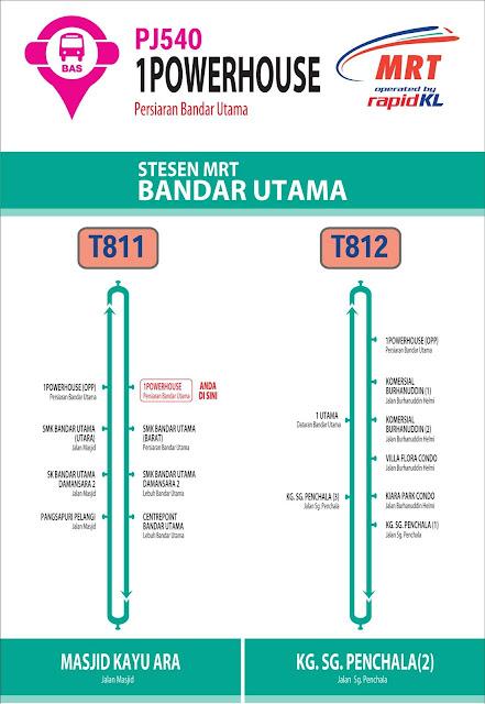 RapidKL T811 T812 Stesen MRT Bandar Utama Feeder Bus Service