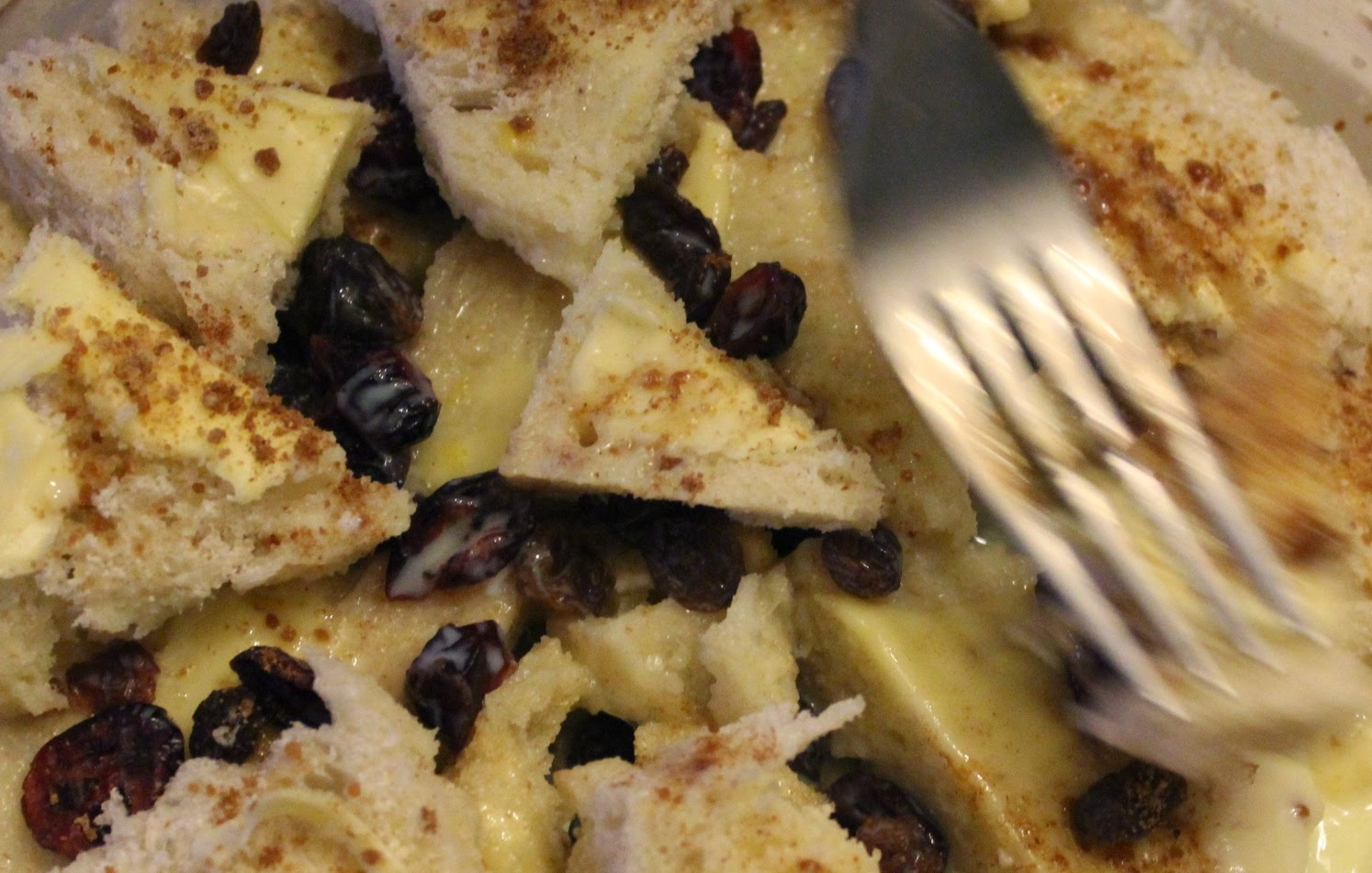 Bread and butter pudding organic recipe - leave to stand