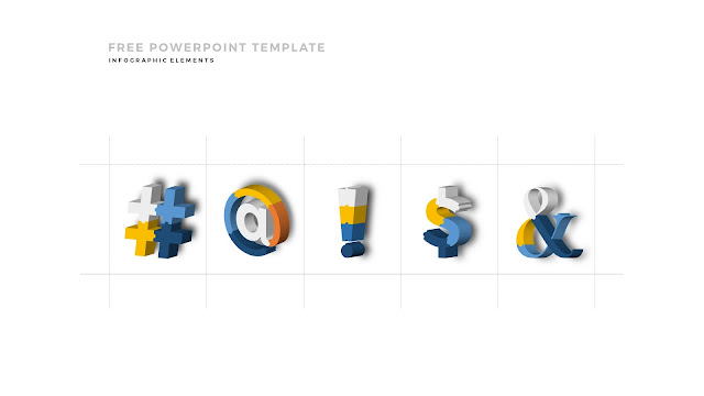 Free PowerPoint Template with Fully Editable 3D Puzzle and Sign Infographic Elements in Grid Backgrounud