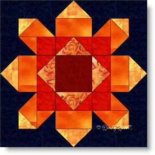 Firewheel quilt block image © Wendy Russell