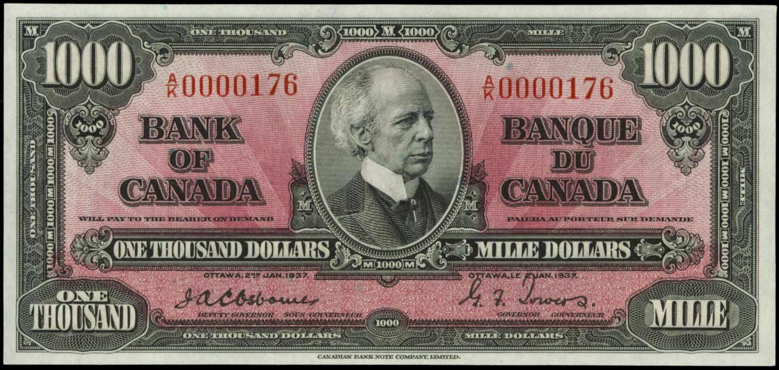 Canada 1937 One Thousand Dollar Bill 1000 Dollars