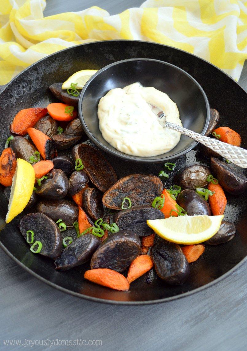 ... : Pan-Roasted Purple Potatoes and Carrots with Garlic-Lemon Aioli