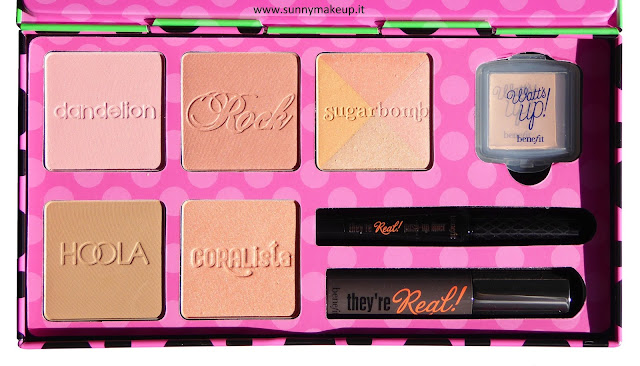 Benefit - Real Cheeky Party Kit. Blush: Dandelion, Rockateur, Sugarbomb, Coralista. Terra: Hoola. Illuminante: Watt's Up!. Mascara: They're Real. Eyeliner: They're Real! Push Up Liner.