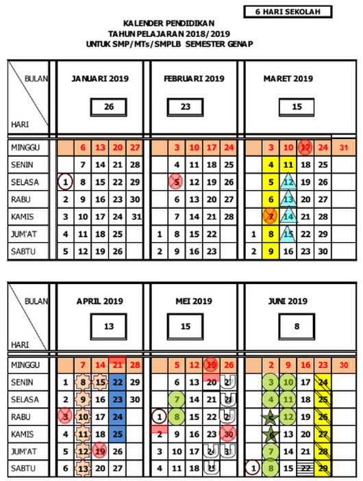 Kalender Pendidikan 2018/ 2019 Jawa Tengah Semester Genap untuk SMP/MTs/SMPLB