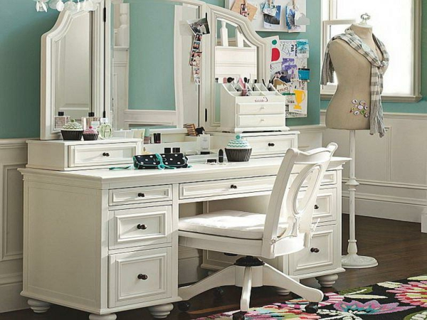 white bedroom dressing table with big mirror