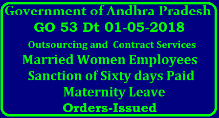 Sixty Days Paid Maternity Leave to Outsourcing and Contract Services-AP wide GO 53 Dt 01-05-2018 GOVERNMENT OF ANDHRA PRADESH ABSTRACT Human Resources- Outsourcing and Contract Services- Married Women Employees- Sanction of Sixty days Paid Maternity Leave-Orders-Issued/2018/05/go-53-human-resources-ourtsourcing-and-contract-services-married-women-employees-sanction-of-sixty-days-paid-maternity-leave-orders-issued.html