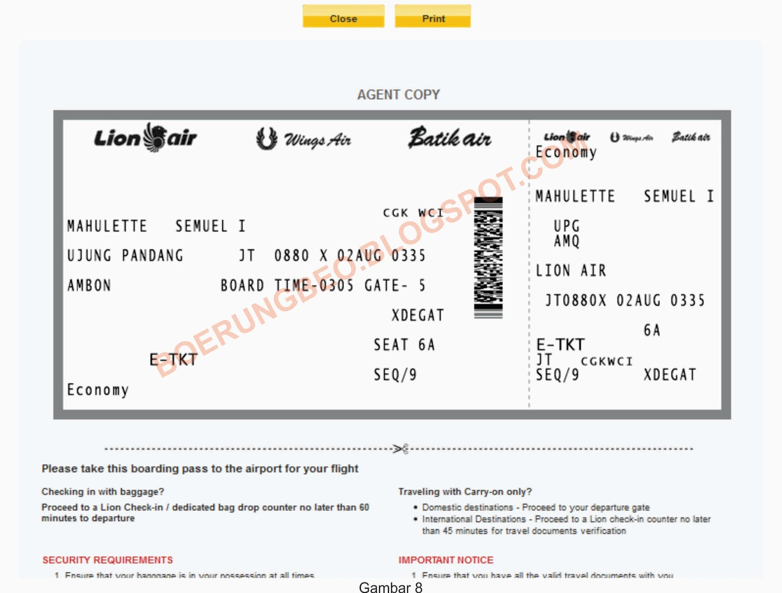 check in online boarding pass lion air