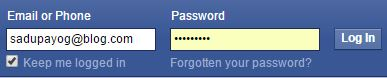 Facebook Email Id and Password Text Box Type = Char Password