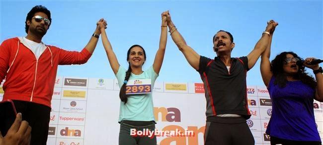 Abhishek Bachchan, Tara Sharma, RJ Malishka and Mickey Mehta, Tara Sharma, Abhishek at 'DNA I Can Women Half Marathon 2014'