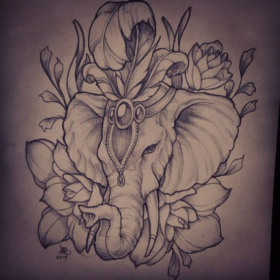Elephant Flower Tattoo Designs