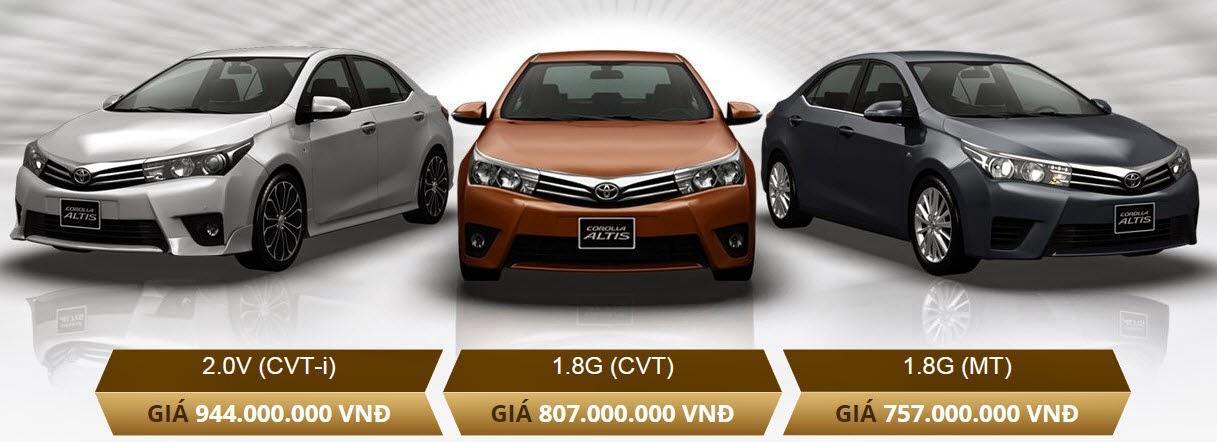 Toyota Corolla Altis 1.8G và Altis 2.0V có mức giá chênh lệch 137 triệu .