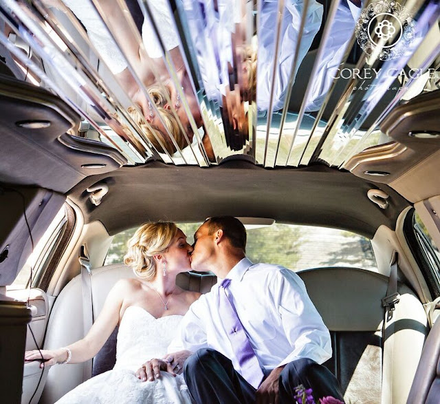 bride and groom in limo | Corey Cagle Photography