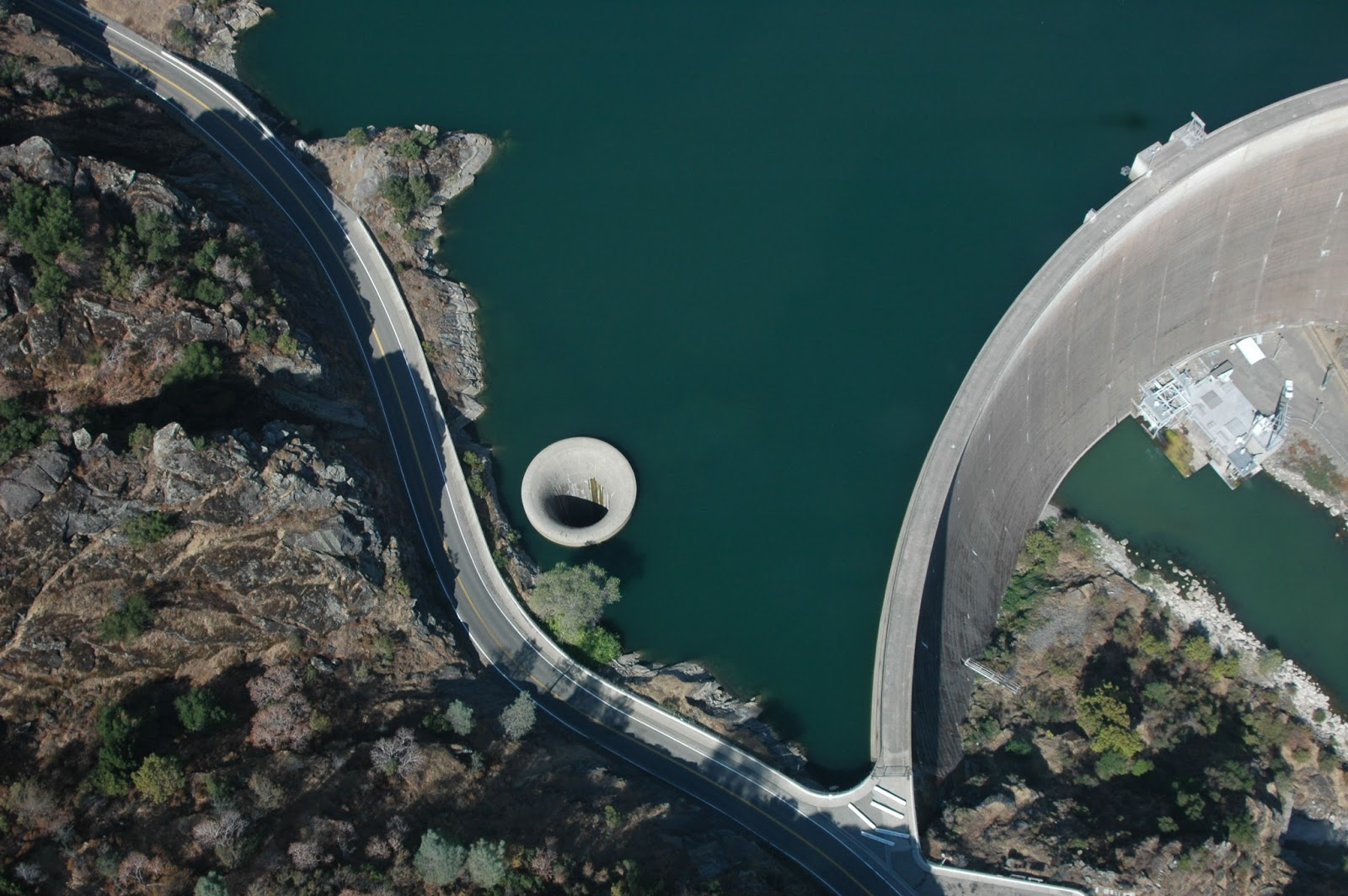 Arial View of Glory Hole in California