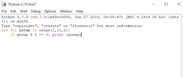 program python menampilkan deret bilangan genap