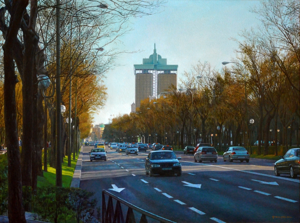 06-Paseo-de-la-Castellana-Fidel-Molina-Realistic-Paintings-of-Cities-Frozen-in-Time-www-designstack-co