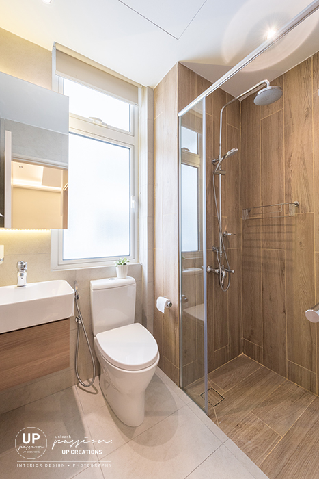 royal regent condo bathroom in wood texture tiles for shower area