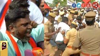 Thirumavalavan leads Rail roko at Basin bridge in Chennai