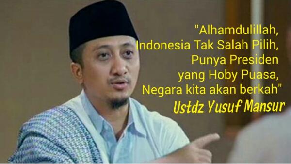 Hasil gambar untuk yusuf mansur dan Jokowi