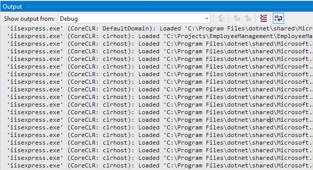 disable iisexpress.exe logs under debug tab in visual studio