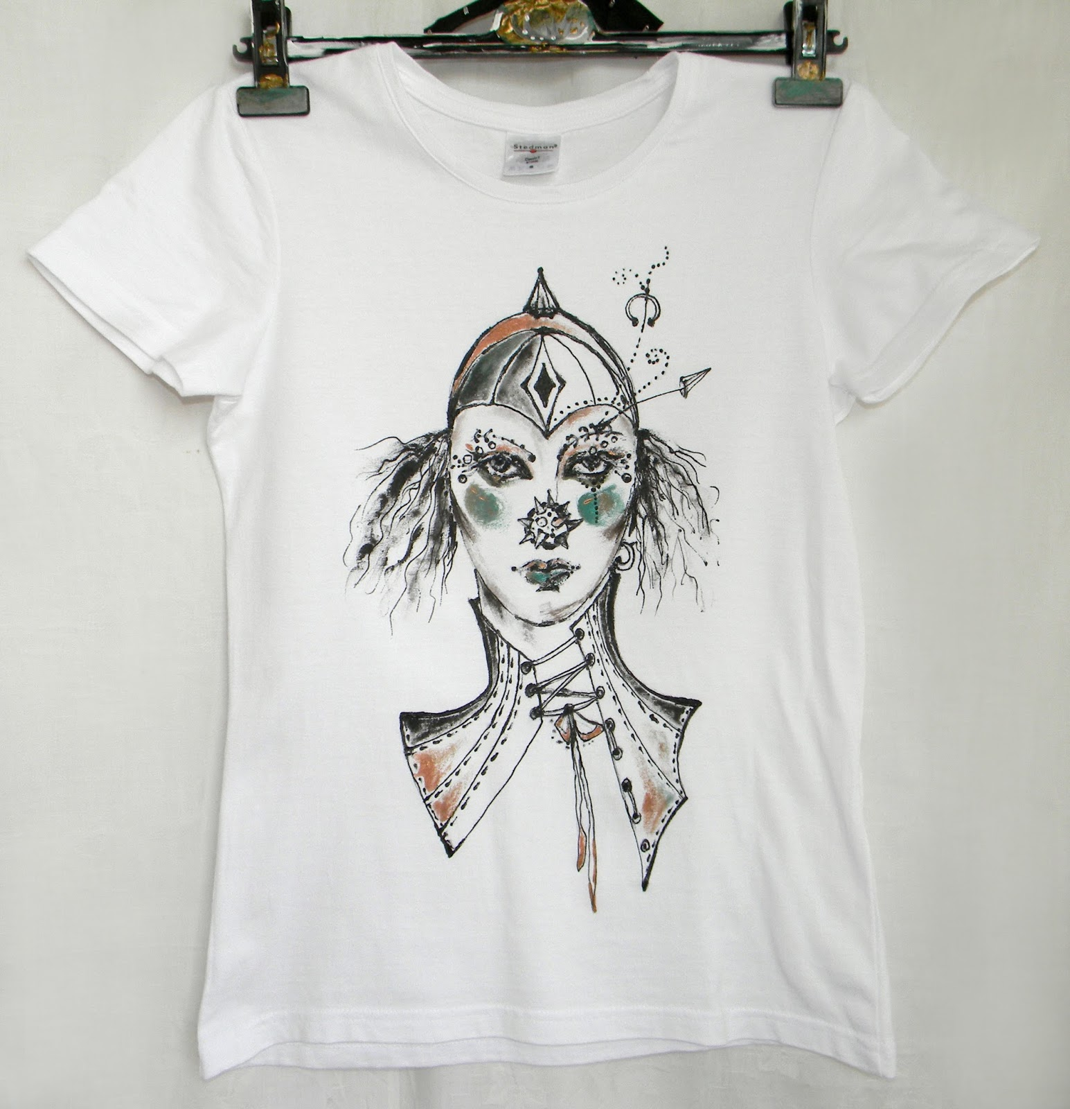 Women Size Small S Hand Painted Tshirt with Original Portrait Goth Circus Fashion Ladies Fit
